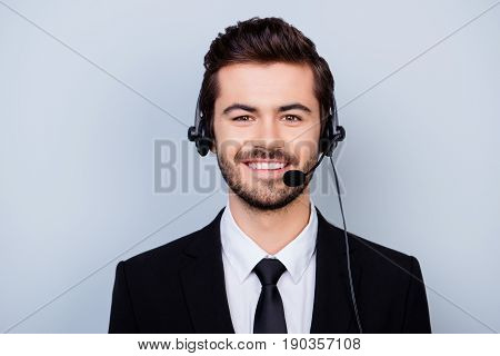 Close Up Portrait Of Happy With Beaming Smile Man In Formal Wear Working In Call Center
