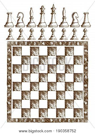 A chessboard with figures drawn with brown ink.