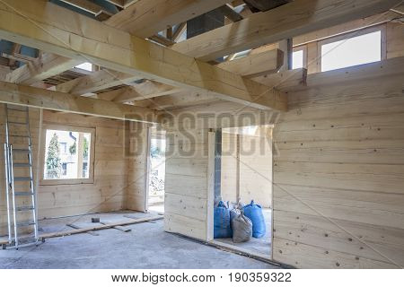 Interior of unfinished wooden house - Poland.