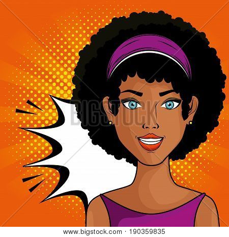 Afro american woman comic like pop art icon over orange background with yellow dots vector illustration