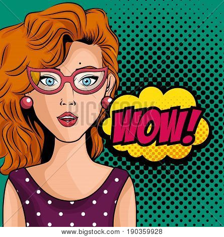 Ginger woman comic like pop art icon with wow sign over teal background with black dots vector illustration