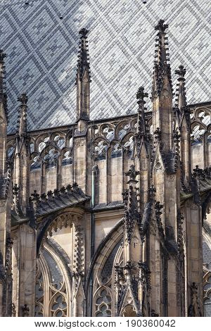 14th century St. Vitus Cathedral facade Prague Czech Republic. It is a Roman Catholic metropolitan cathedral in Prague the seat of the Archbishop of Prague.
