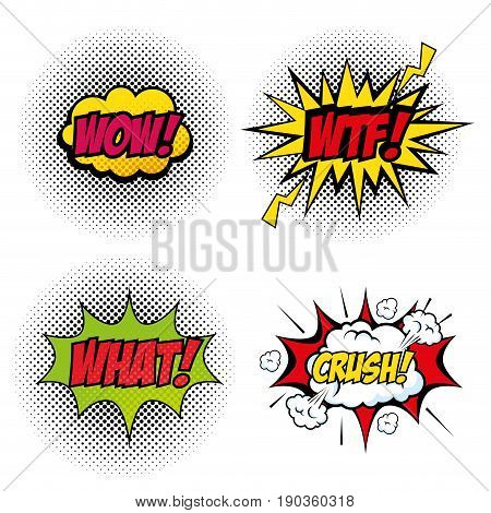 Set of comic like pop artsigns over white background vector illustration