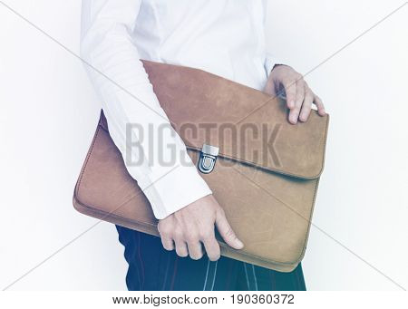 Hands Hold Formal Leather Folder Bag