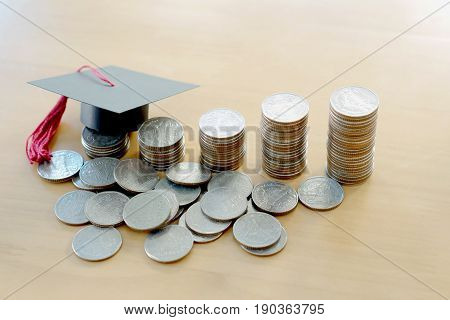 Saving for education, graduation, money, currency, coins