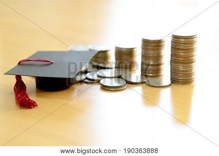 Saving for education, graduation, currency, money, coins
