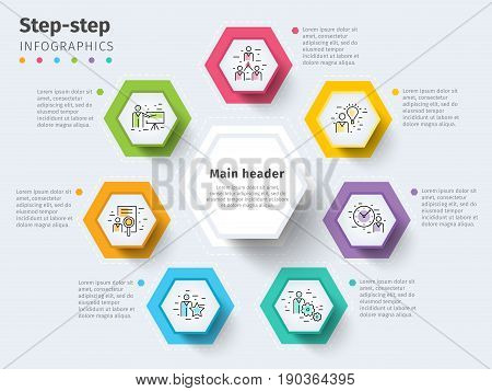 Business 7 Step Process Chart Infographics With Step Circles. Bright Corporate Graphic Elements. Com