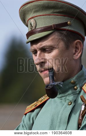 Brusilovsky breakthrough, the historic festival the First world war, Moscow, 2 Oct 2016. Portrait of a soldier of the Russian army.