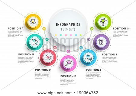 Business 7 Step Process Chart Infographics With Step Circles. Circular Corporate Graphic Elements. C
