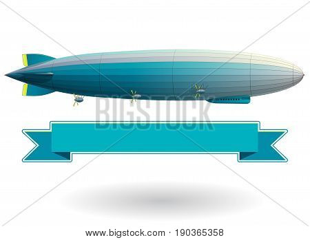 Legendary huge zeppelin airship filled with hydrogen. Blue stylized flying balloon. Big dirigible, propellers and rudder. Long zeppelin, white background, rigid airship. Isolated vector illustration.