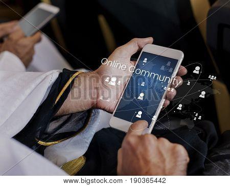 Illustration of global communication network technology on mobile phone