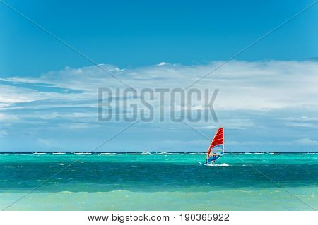 Windsurfing.  Lifestyle and sport concept. Man on windsurf. extreme sport, active lifestyle.