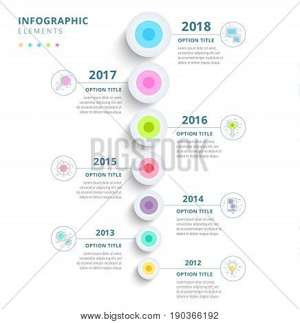 Clean Minimalistic Business 5 Step Process Chart Infographics With Step Circles. Bright Corporate Gr
