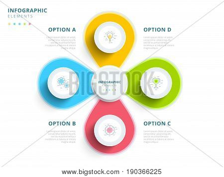 Clean Minimalistic Business 4 Step Process Chart Infographics With Step Circles. Bright Corporate Gr