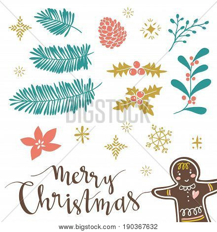 Template for Greeting Scrap booking Congratulations Invitations stickers. Vector illustration with lettering 'merry christmas' and isolated christmas brahches. Gingerbread are hidden under the mask.