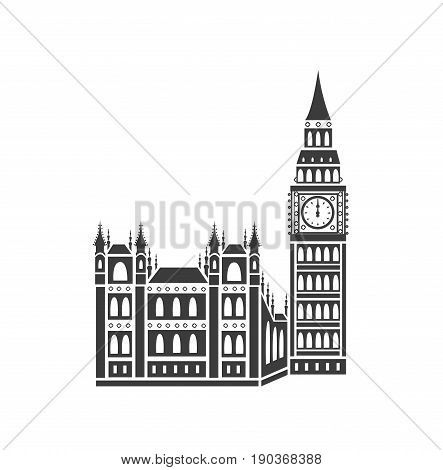 Westminster Abbey and Big Ben. Vector icon.