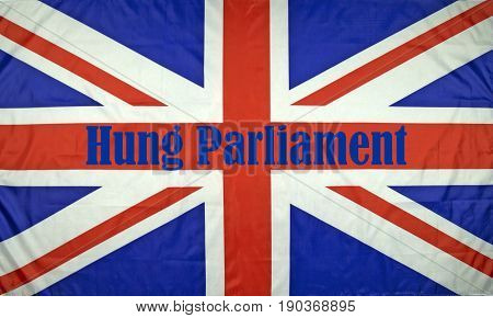 Close up of a British flag with Hung Parliament written on it.