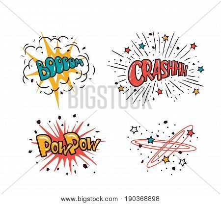 Comic speech bubbles set isolated on the white background vector illustration. Crash boom pow pow - cartoon lettering.