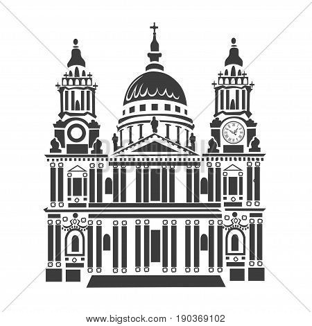 St Paul Cathedral in London. Beautiful architecture in Great Britain. Icon