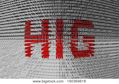 HIG in the form of binary code, 3D illustration