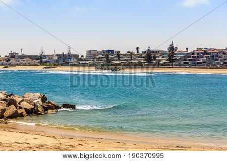 Condominiums at the coastline of Swakopmund German colonial town Namibia
