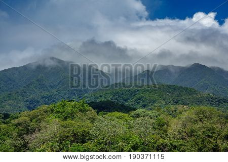 Closeup view of rincon de la vieja vulcano and misty clouds