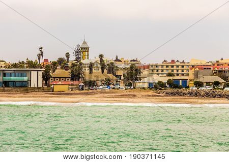 View From The Sea On Coastline Of Swakopmund German Colonial Town, Namibia