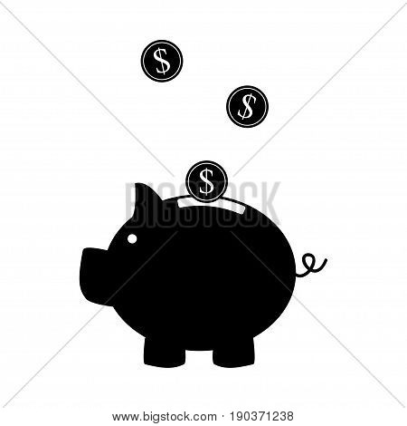 Piggy bank, flat design black pictogram on white background