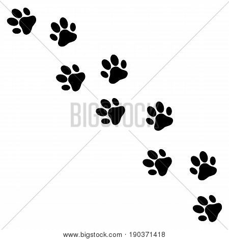 Paw print. animal imprint road. wildlife illustration vector