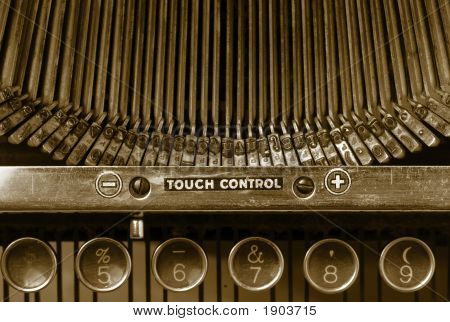 Closeup of old typewriter's keypad numbers and typing keys poster