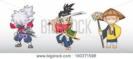 Vector Fantasy Japanese Characters Illustration [Ninja, Samurai,Monk]