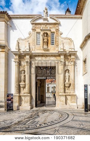 COIMBRA,PORTUGAL - MAY 12,2017 - Palace gate to courtyard of University in Coimbra. Coimbra is the fourth largest urban centre in Portugal.