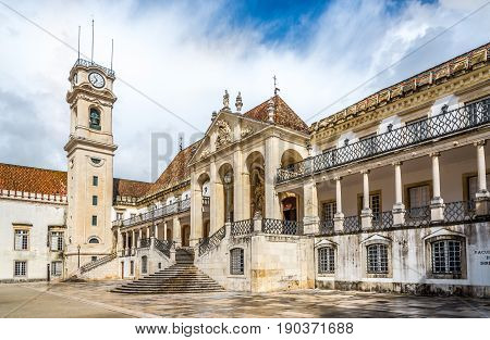 COIMBRA,PORTUGAL - MAY 12,2017 - View at the courtyard of Coimbra University in Portugal. Coimbra is the fourth largest urban centre in Portugal.