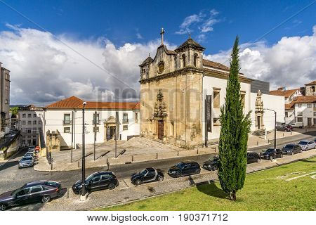 COIMBRA,PORTUGAL - MAY 12,2017 - View at the church of Sao Joao de Almedina in Coimbra. Coimbra is the fourth largest urban centre in Portugal.