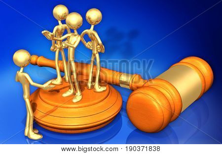Denied Legal Representation The Original 3D Characters Illustration