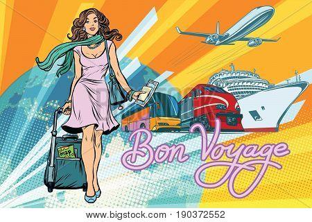 Beautiful woman passenger tourist bus train cruise ship and plane. Pop art retro vector illustration