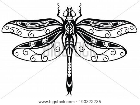 Decorative Dragonfly . Tattoo vector Dragonfly .