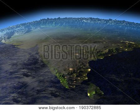Indian Subcontinent From Space On Early Morning