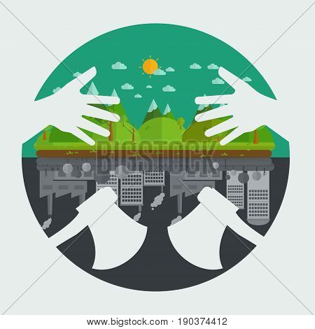 Eco friendly hands hug concept green tree.Environmentally friendly natural landscape. double axe symbol concept destroy Environmentally .what will you choose concept. Vector illustration