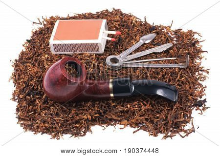 Pipe accessory and tobacco isolated on white