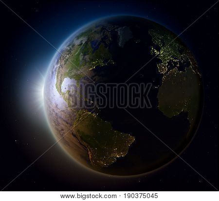 Sunset Above Northern Hemisphere From Space