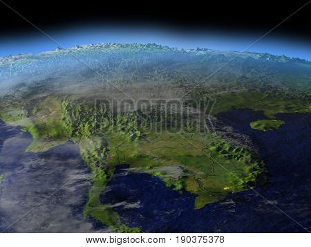 Indochina From Space On Early Morning