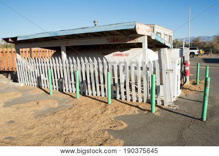 white propane storage tanks in control area