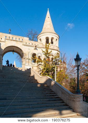 Staircase of Fisherman Bastion on the Buda Castle Hill in Budapest, Hungary. Sunny autumn day shot.