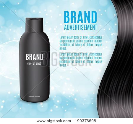 Premium shampoo ads. Realistic cosmetic bottle for shampoo, lotion or foam on a blue glitter background. Premium cosmetic design for ads or magazine. 3d illustration. EPS10 vector
