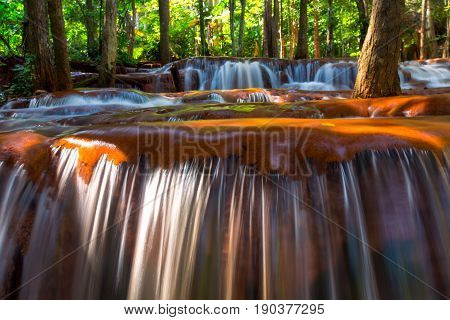 Beautiful Waterfall In Deep Forest, Pa Wai Waterfall In Tropical Rain Forest, Khirirat, Phop Phra, T