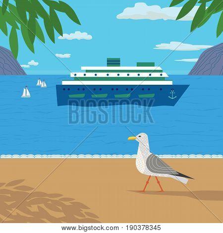 Nautical poster concept. Seagull on sea beach. Hand drawn cartoon style. Seaside vacation design element. Retro vintage seashore sign. Marine cruise ship icon. Cruising banner. Vector illustration