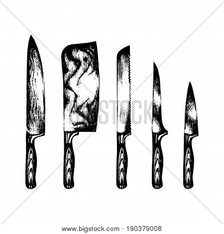 Vector hand drawn kitchen or chefs knives set. Butchers tools illustration. Cutlery sketches collection for shop, butchery, restaurant, cafe etc.