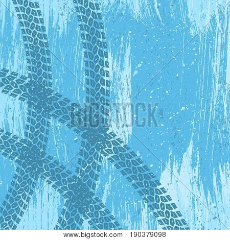 Grunge blue tire track background with ice and snow