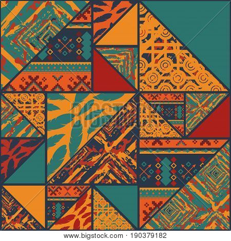 Seamless pattern background with triangles and different colors
